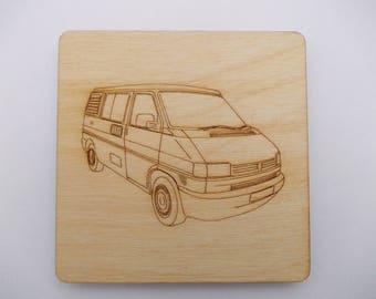 T4  Camper Coaster - Etched wood