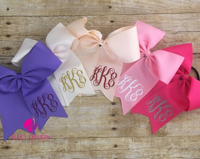 Featured listing image: MONOGRAMMED BOW W/HAIRTIE - Personalized Bow - 2 For 10 W/Free Shipping - Monogrammed Cheer Bows - Cheer Team Bows - Sports Bows