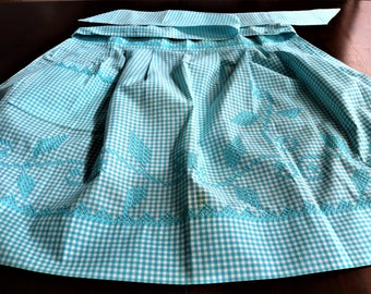 Bright Blue Gingham Decorated with Cross-Stitch Pattern