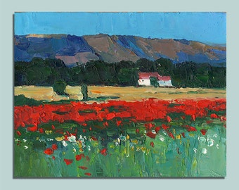 Provence Poppies Painting Original Oil Painting Landscape Palette Knife Painting Wall Decor Fine Art Contemporary Art