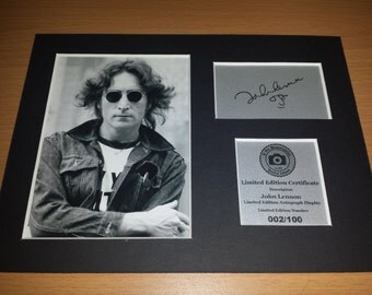 John Lennon - The Beatles - Signed Autograph Display - Fully Mounted and Ready To Be Framed