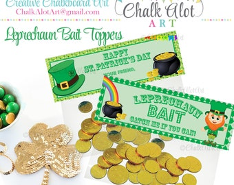 Leprechaun Bait St. Patrick's Day Favor Toppers, St Patricks Day - Instant Download