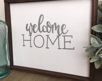 "Welcome Home 8.5x11"" canvas+wood sign, hand painted sign, farmhouse style"
