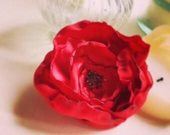 Pin Up Hair Flower Red Poppy Hair Clip Fascinator Wedding Hair Red Flower Beaded