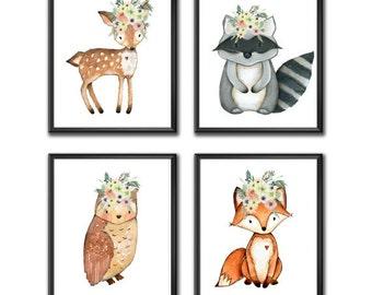 Woodland Nursery Decor, Woodland Nursery Wall Art, Baby Room Wall Art, Woodland Animal Prints, Digital Prints, Instant Download 5x7