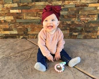 Maroon baby turban/ head wrap/ hat