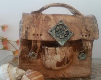 Ceramic sculpture,Sculpture Bag,ceramic handbag,Decorative Sculpture, Art Object,modern art,art and Collectibles,ceramic bag, pottery
