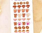 Sweet Breakfast Planner Stickers / Watercolor Cookies Muffins Donuts Cupcakes Coffee Mugs Teacups Stickers