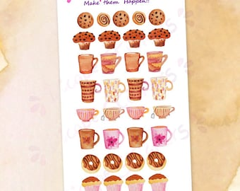 Sweet Breakfast Planner Stickers / Watercolor Cookies Muffins Donuts Cupcakes Coffee Mugs Teacups Stickers