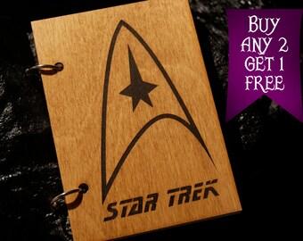 Star Trek wooden notebook / Star Trek notebook / sketchbook / diary / Star Trek journal / travelbook / Star Trek gift