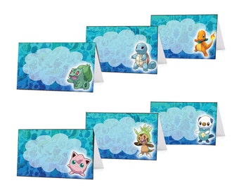 Pokemon Food Tents / Place Card Holders. Instand Download 12 Unique Pokemon Party Food tents / Place Cards.