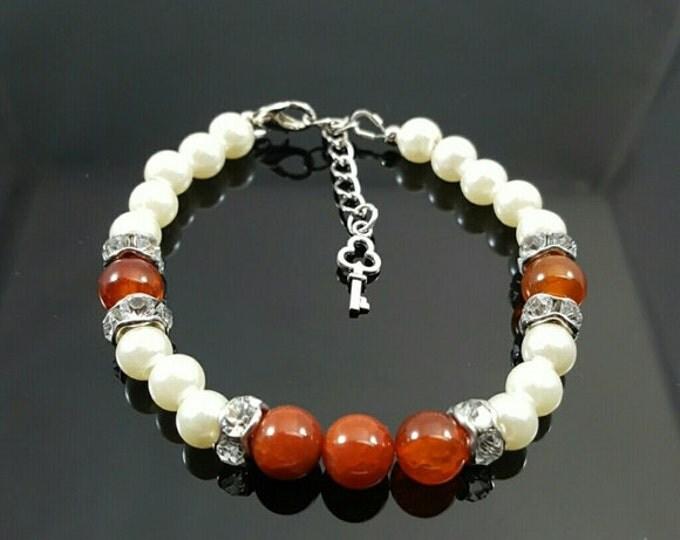 Handmade Fire Agate Bracelet