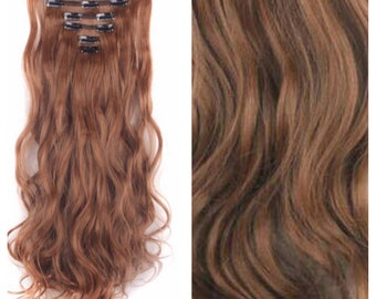 "Brown Hair Extensions Natiral Brown Clip In Extensions 24"" Long Straight Wavy Curly Hair Weave Bundle Extensions Real Remy TOP QUALITY #A6"
