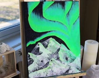 Northern Lights Original Painting, Aurora Painting, Landscape Painting, Nature Painting, Acrylic Painting, Original Art, Canadian Art