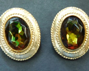 Vintage Oval Faceted Glass Clip On Earrings