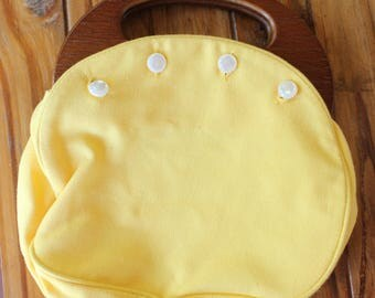 Vintage Convertible Cloth Purse With Wood Handle