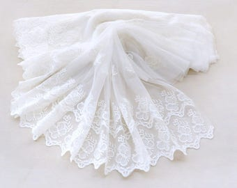 White Lace Trim Ivory Floral Tulle Lace Embroidery - width 6 cm 2 inches,wedding lace,Embroidery Lace Trim,edging lace trim