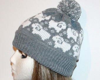 Grey Beanie Hat with Sheep in White - with or without pompom top