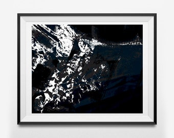 Abstract Avalanche Printable Wall Art (Dark, Snow, Texture), Instant Download