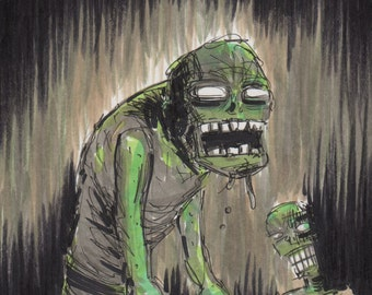 Zombie Attack! Original, one-of-a-kind illustration...
