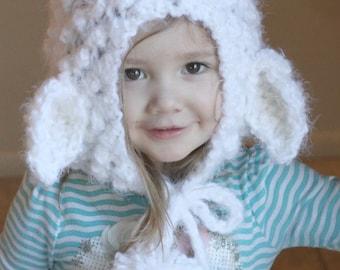 White Little Lamb Bonnet, Knitted lamb Hood