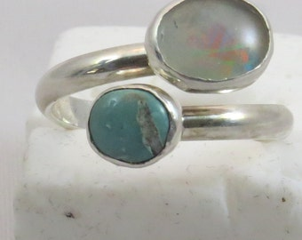 turquoise and opal bypass ring.