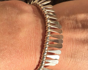 Sterling Silver Bracelet with Frond Detail