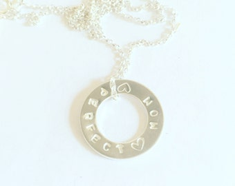 Hand Stamped Customised Personalised Silver Washer Circle, Sterling Silver Washer Necklace, Family Circle, Hand Made