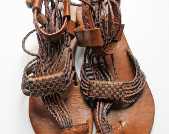 "Sandal ""Sara"" braided leather cord"