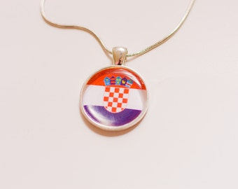 Croatian flag necklace, Croatian necklace, Croatian pendant, Croatian jewelry, flag necklace, silver necklace, flag jewelry,gift for women