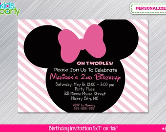 Pink and Black Minnie Mouse Print Yourself Invitation  5x7 or 4x6