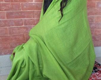 100% Pashmina Parrot Green Color Shawl NEPAL