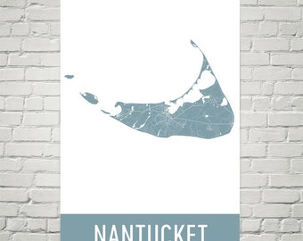 Nantucket Map, Nantucket Art, Nantucket Print, Nantucket Sign, Nantucket MA, Nantucket Wall Art, Map of Nantucket, Gift, Decor, Art