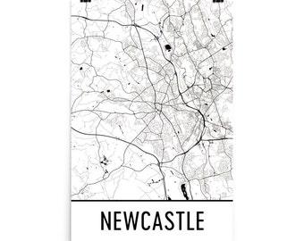 Newcastle Map, Newcastle Art, Newcastle Print, Newcastle England Poster, Newcastle Wall Art, Map of Newcastle, Newcastle Gift, Decor, Map