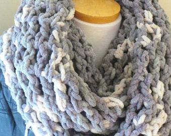 Chunky, oversized Infinity scarf, circle scarf, loop scarf, custom made, grey scarf