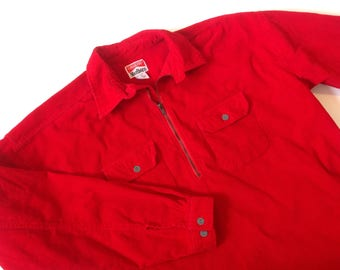 Vintage Marlboro deadstock red corduroy quarter-zip shirt