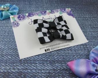 Bow Tie Hair Clip - Set of 2 - Checkerboard