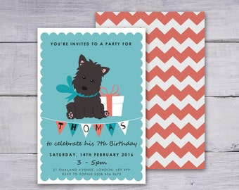 Personalised Dog Invitation, Dog Party Invitation, Printable Dog Birthday Invitation, Blue and Orange Invite, Cute Dog Party Invitation
