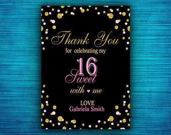 Sweet 16 Thank You Card-Gold Confetti - Pink and Gold Sweet 16 Thank You-Black and Gold- Sweet Sixteen Thank You Card-Digital file
