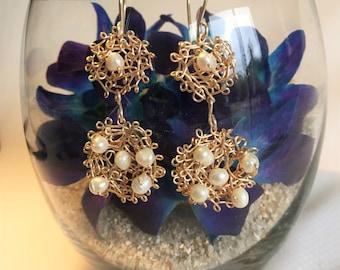Handmade Chandelier Earrings in Gold with Freshwater Pearls