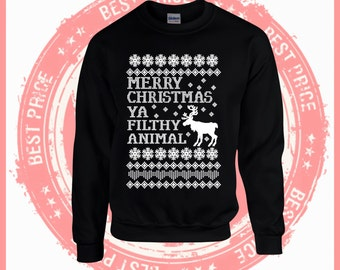 On Sale Today Merry Christmas Ya filthy Animal- Ugly Christmas sweater-Merry Christmas sweater-Hotline bling-drake-ugly sweater party-