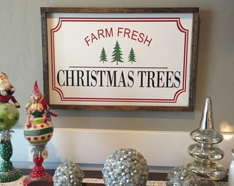 Farm Fresh Christmas Trees Sign | Wood Christmas Sign | Vintage Christmas Sign | Christmas Wood Sign | Tree Sign | Rustic Christmas