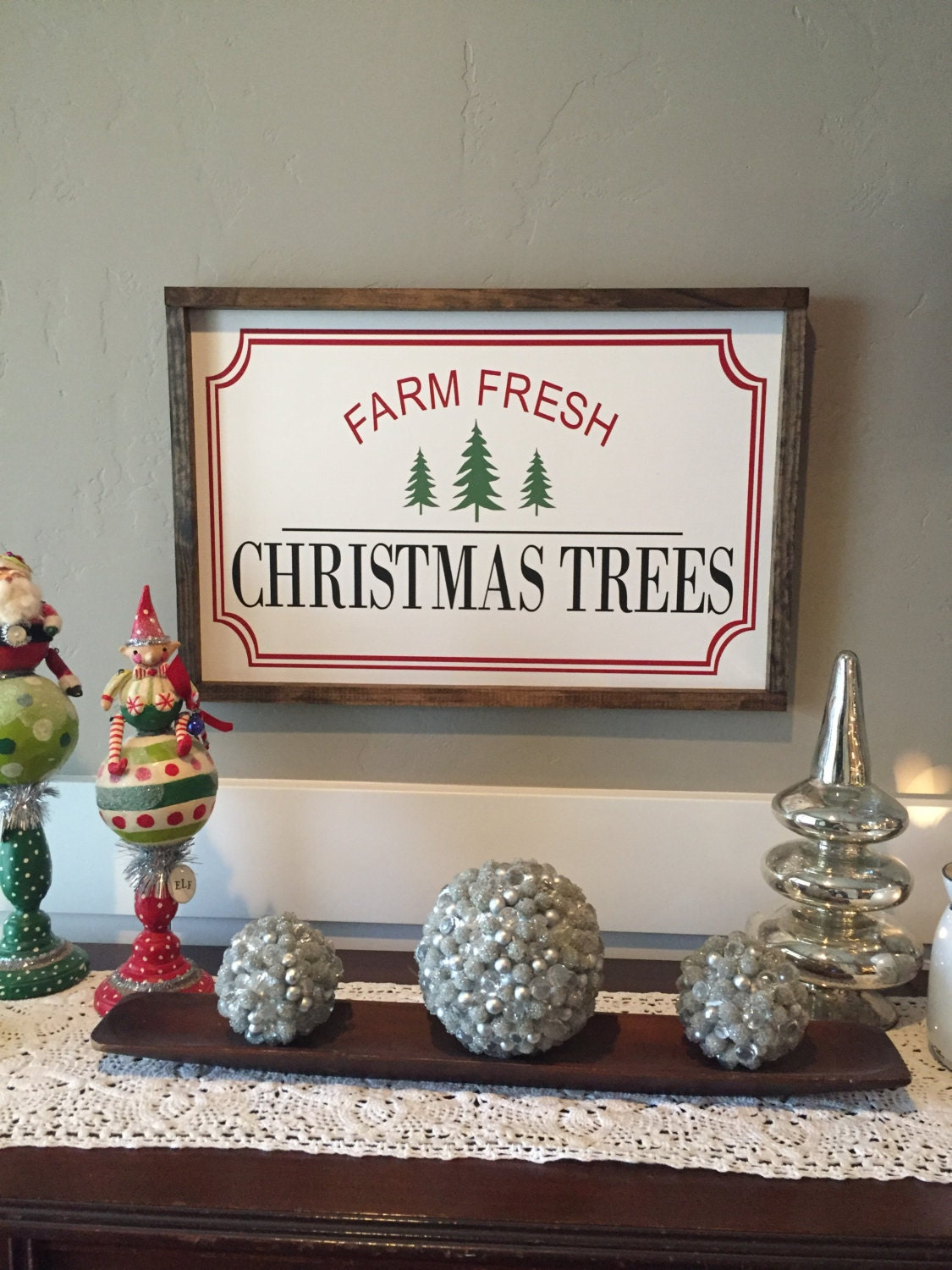 Farm Fresh Christmas Trees Sign Wood Christmas Sign