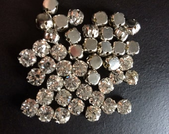 Beautiful 5mm x10 Swarovski round crystal sew on clear stones beads