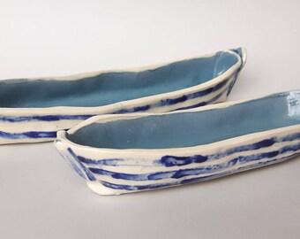 Ceramic boats  (Set of 2), candy dish, snack dish, art ceramic