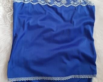Cobalt blue camisole and boxer set