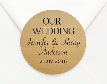 Personalised Kraft Paper Circle Wedding Bomboniere Sticker Labels