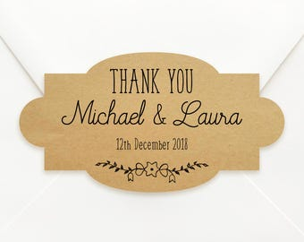 Personalised Vintage Shaped Kraft Paper Wedding Bomboniere Sticker Labels