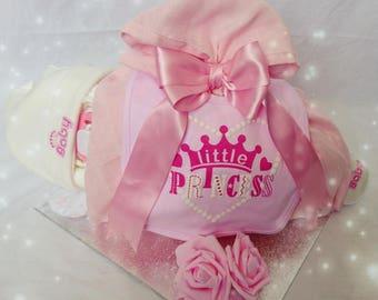 Beautiful Sleeping Baby Princess Stork Bundle Baby Girl Nappy Cake Baby Shower New Baby Gift
