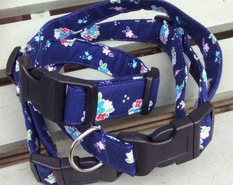 Dog Collar - blue flowers